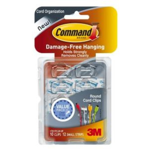 Command Clear Round Cord Clips with Clear Strips (10-Pack)