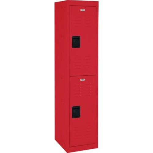 Double tier locker, recessed handle, red