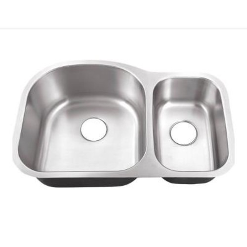 Belle Foret Undermount Stainless Steel 32 in. 0-Hole 70/30 Double Bowl Kitchen Sink