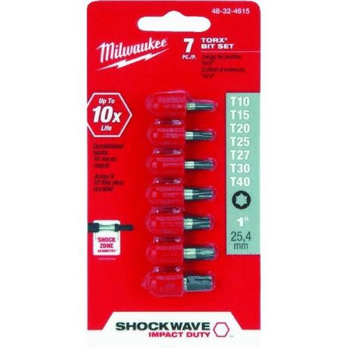 Milwaukee TORX Shockwave 7-Piece Impact Screwdriver Bit Set - 48-32-4615