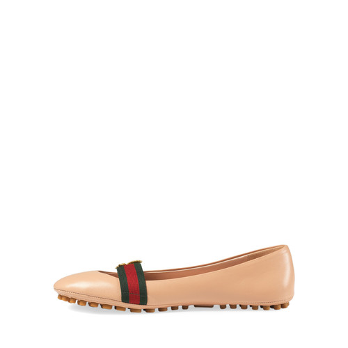 GUCCI Bayadere Leather Web Ballerina Flat, Nude