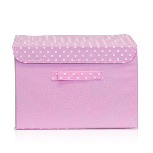 Llytech Inc Non-Woven Fabric Pink Storage Bin with Lid