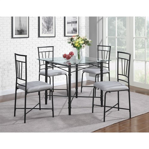 Dorel Delphine 5-Piece Black Dining Set with Glass Table Top