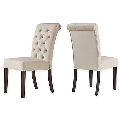 Verona Home Radcliffe Velvet Tufted Dining Chair in Beige (Set of 2)