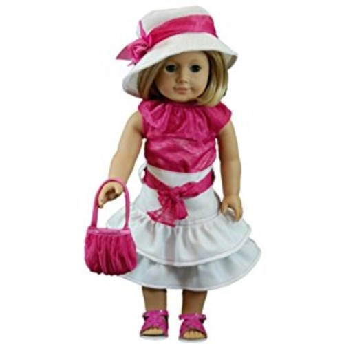 White Ruffled Skirt and Hot Pink Shirt. Designed to fit 18 inch American Girl Doll. Matching Hat Allows For Shade From Hot Summer Sun! Doll Clothing and Accessories.