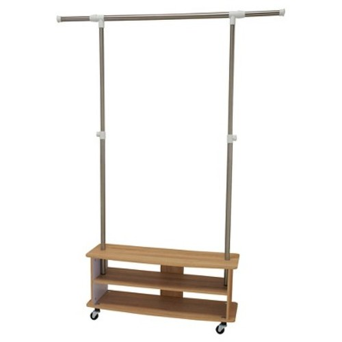 Household Essentials - Rolling Garment Rack with Shoe Shelves - Light Ash