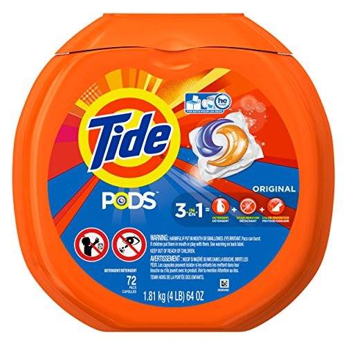 Tide PODS 3 in 1 HE Turbo Laundry Detergent Pacs, Original Scent, 72 Count Tub