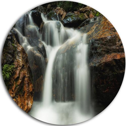 Designart 'Slow Motion Waterfall on Rocks' Landscape Disc Metal Artwork