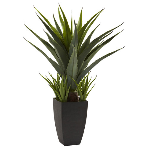Nearly Natural Agave w/Black Planter Silk Plant