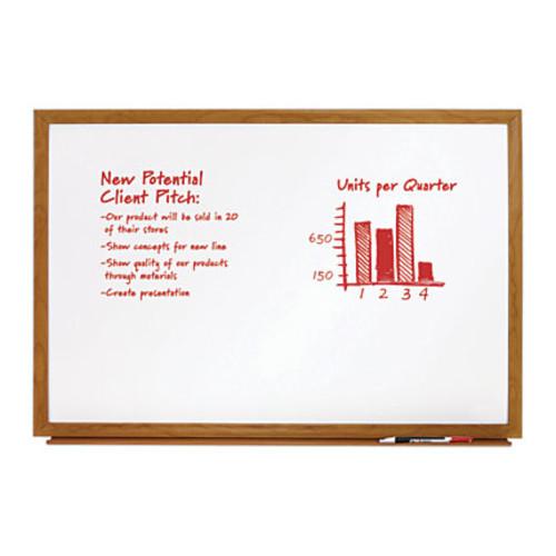 FORAY Melamine Dry-Erase Board, Oak Finish Frame, 24