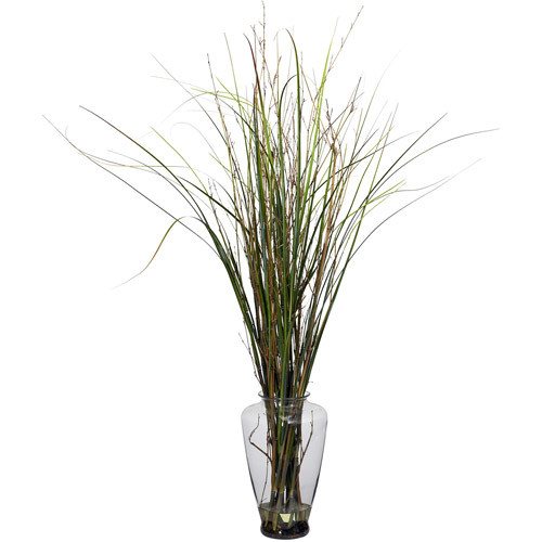 Grass and Bamboo with Large Jar Silk Plant