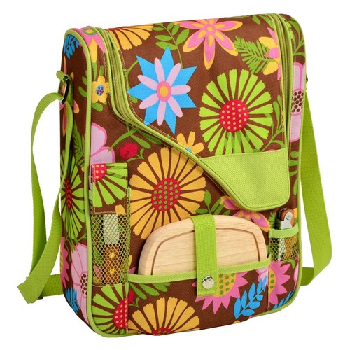 Picnic at Ascot Wine and Cheese Cooler Bag Equipped for 2 with Glasses, Napkins, Cutting Board, Corkscrew , etc. - Floral