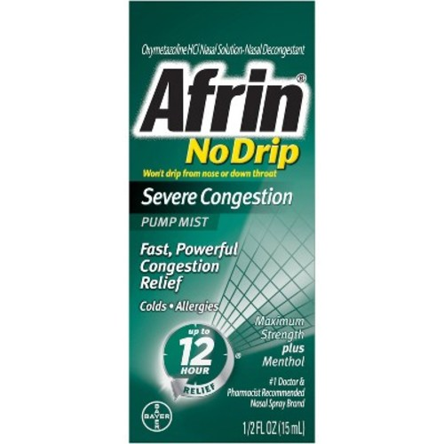 Afrin Pump Mist 12 Hour Relief No Drip Severe Congestion -- 0.5 fl oz