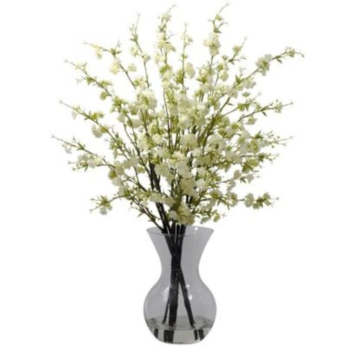 Nearly Natural Cherry Blossoms with Vase Arrangement in White