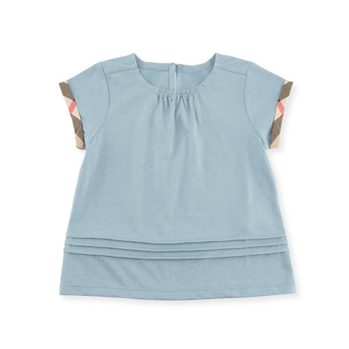 BURBERRY Gisselle Pintucked Melange Jersey Tee, Blue, Size 2