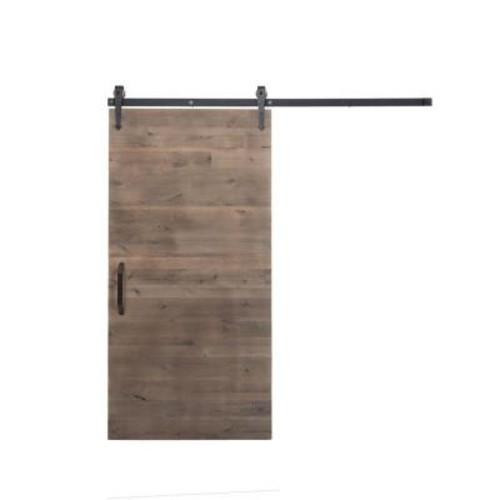 Rustica Hardware 42 in. x 84 in. Rustica Reclaimed Home Depot Gray Wood Barn Door with Arrow Sliding Door Hardware Kit