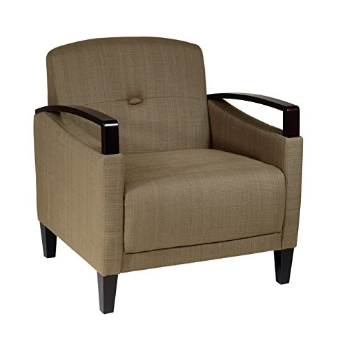 AVE SIX Main Street Accent Chair with Interlace Weave Fabric and Espresso Finish Wood Accents, Seaweed [green]