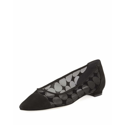 MANOLO BLAHNIK Bral Mesh Cap-Toe Ballerina Flat, Black