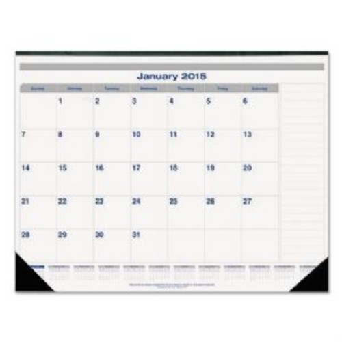Net Zero Carbon Monthly Desk Pad Calendar, 22 x 17, Black Band and Corners, 2016