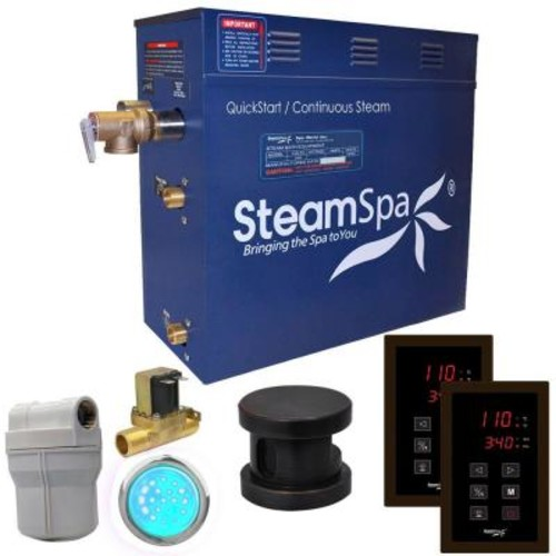 SteamSpa Royal 4.5kW QuickStart Steam Bath Generator Package with Built-In Auto Drain in Polished Oil Rubbed Bronze