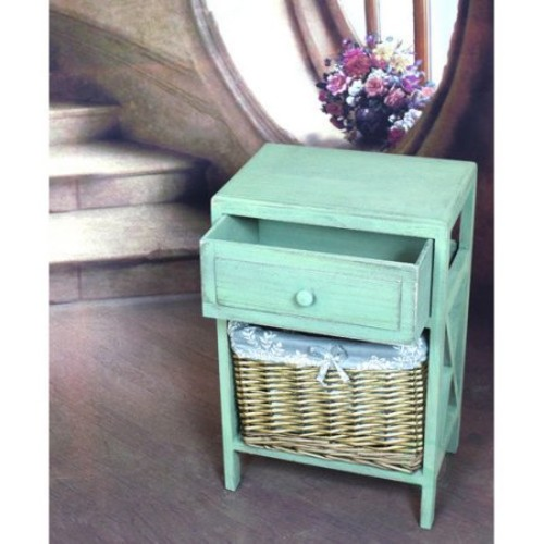 Distressed Washed Wood Cabinet Chest, Drawer and Basket Bin