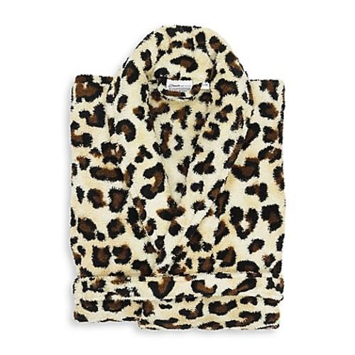 Linum Home Textiles Small/Medium Super Plush Bathrobe in Leopard