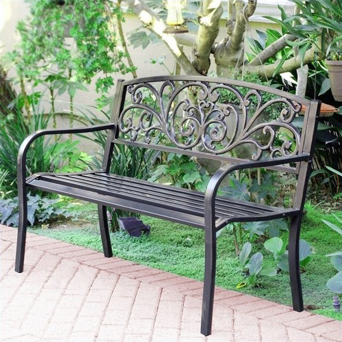 Jeco 50 in. Scroll Curved Back Steel Park Bench