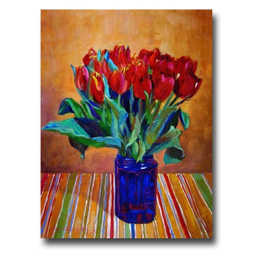 Trademark Global David Lloyd Glover 'Tulips in Blue Glass' Canvas Art [Overall Dimensions : 18x24]