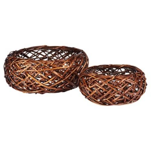 Household Essentials Autumn Bird Nest Willow Basket, 2-Piece Set