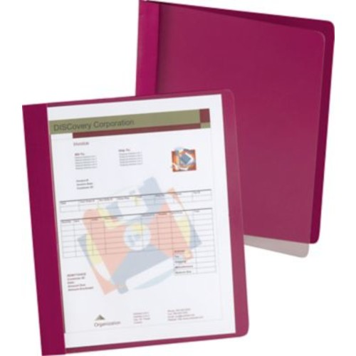 Oxford Extra Wide Clear Front Report Covers, Red, 25/Pack
