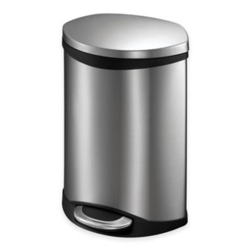 EKO Shell Stainless Steel Semi-Round 6-Liter Soft-Close Step Trash Can