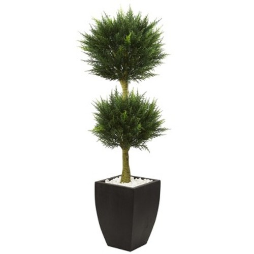 4.5' Cypress Topiary with Black Planter, UV Resistant (Indoor/Outdoor) - Nearly Natural