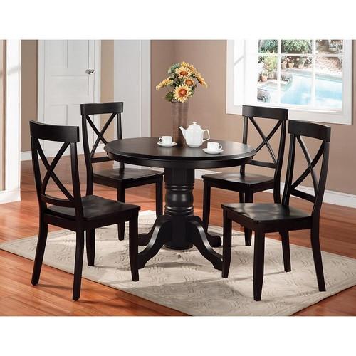 Home Styles 5 Piece Round Pedestal Dining Set - Black