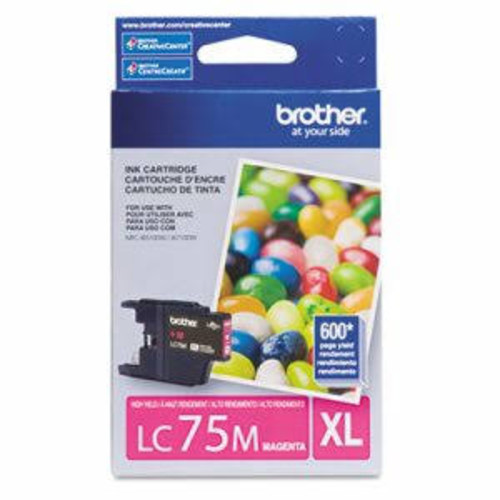 Brother BRTLC75M LC75M (LC-75M) High-Yield Ink, 600 Page-Yield, Mage
