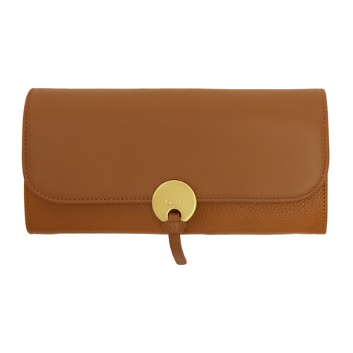 CHLOÉ Tan Long Indy Flap Wallet