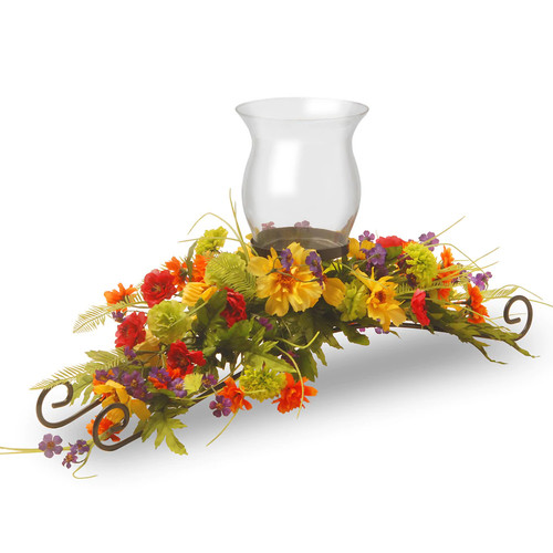 National Tree Company Artificial Cosmos Mixed Floral Candle Holder