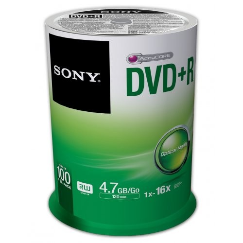 Sony 100DPR47SP 16x DVD+R 4.7GB Recordable DVD Media - 100 Pack Spindle