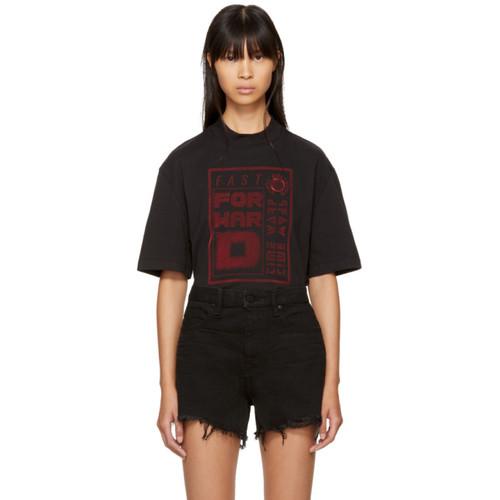 ALEXANDER WANG Black Boxy Mock Neck T-Shirt
