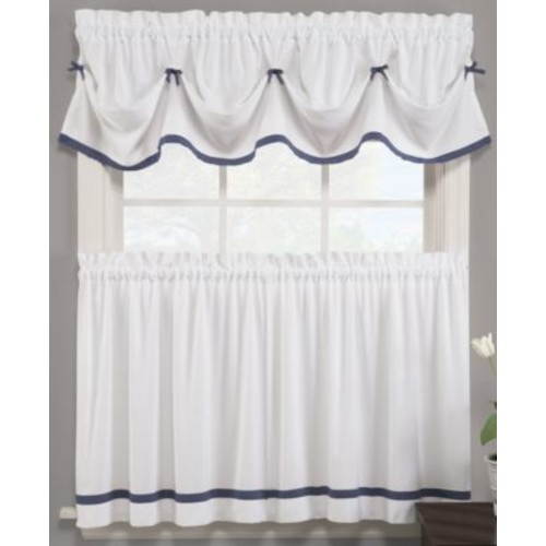 Saturday Knight Semi-Opaque Kate 24 in. L Polyester Tier Curtain in Black (2-Pack)