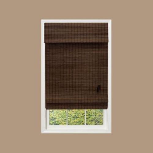 Home Decorators Collection Espresso Flatweave Bamboo Roman Shade - 24.5 in. W x 48 in. L