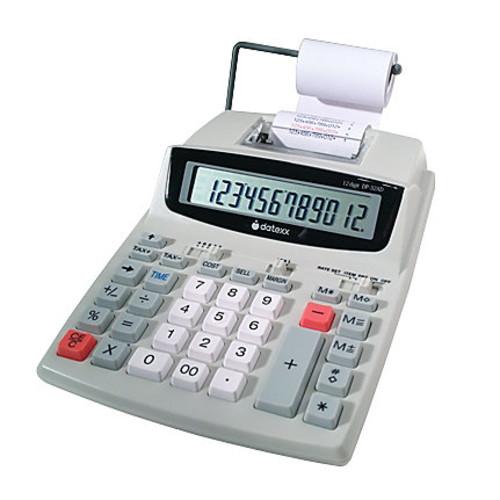 Datexx DP-32AD 12-Digit Printing Calculator, White