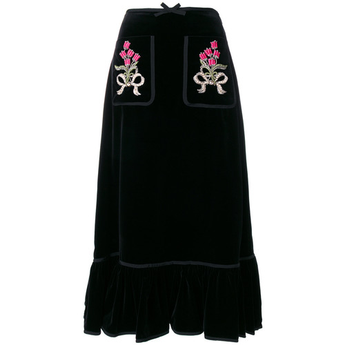 GUCCI Floral Embroidered Midi Skirt