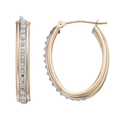 Diamond-Cut Oval Hoop Earrings 10K Gold - JCPenney