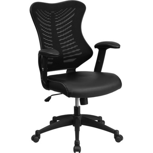 Silkeborg High-Back Black Mesh Leather Executive Swivel Chair w/Adj Arms