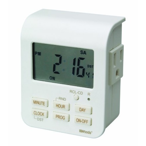 Woods 50009WD Indoor 7-Day Heavy Duty Digital Plug-In Timer, 2 Grounded Outlets [1]