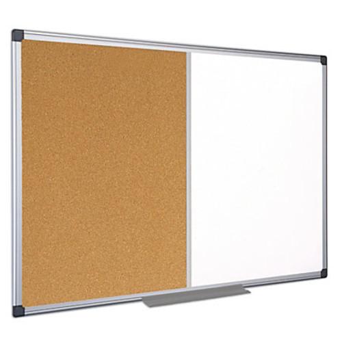 MasterVision Cork/Dry-Erase Combination Board, Melamine, 24