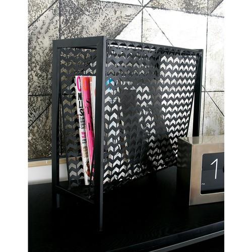 Metallic Black with Chevron Pattern Cutout Design Iron Freestanding Magazine Rack