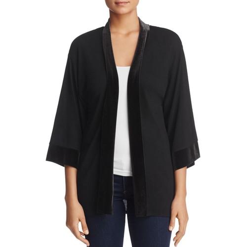 Velvet-Trim Kimono Jacket