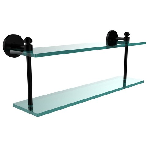 Allied Brass Southbeach Collection 22 in. 2-Tiered Glass Shelf in Matte Black