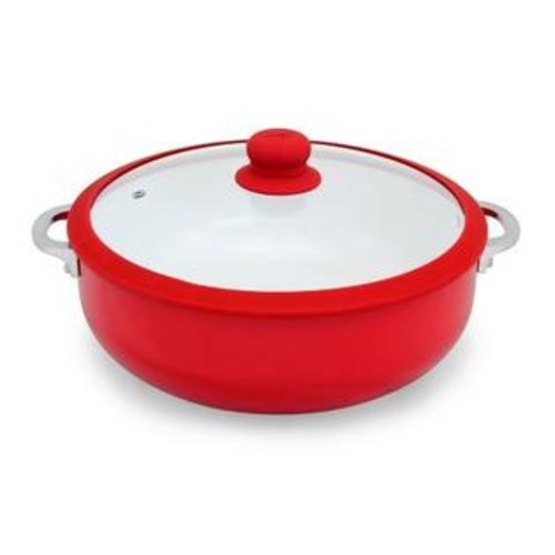 Imusa Red 30cm Silicone Rim Ceramic Non-stick Caldero with Glass Lid